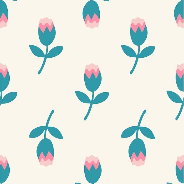 Tropical pink flowers pattern background social media post floral vector illustration