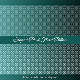Tropical plaid floral pattern with green background. vintage decorative moroccan texture.