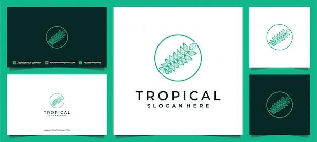 名刺と熱帯植物の緑の葉のロゴ