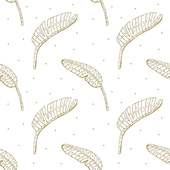 Tropical plant leaves doodle seamless pattern