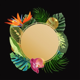 Tropical plants circle design template.