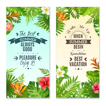 Tropical plants colorful vacation banners