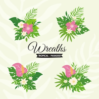 Tropical plants and floral wreath set, exotic tropical leaves wreath and badge