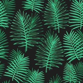 Tropical plants seamless pattern. hand drawn tropical summer exotic leaves illustration on dark. jungle leaves, palm leaves engraved style.
