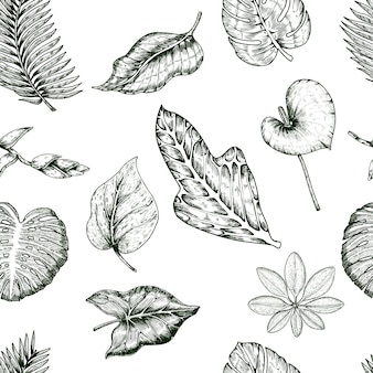 Tropical plants seamless pattern
