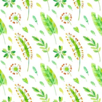 熱帯植物のシームレスなパターン