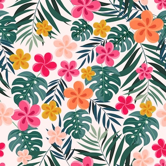 Tropical plants seamless pattern.