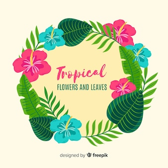 Tropical plants wreath background