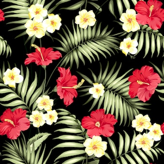 Tropical plumeria and green palm leaves pattern.