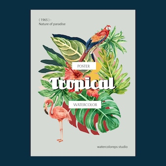 Tropical poster summer with plants foliage exotic, creative watercolor