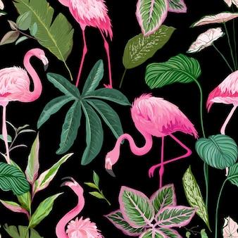 검정색 배경에 분홍색 플라밍고와 야자잎이 있는 열대 인쇄, 매끄러운 꽃 장식, 이국적인 녹색 정글 패턴, 트로픽 식물, 직물 또는 의류 인쇄용 새. 벡터 일러스트 레이 션