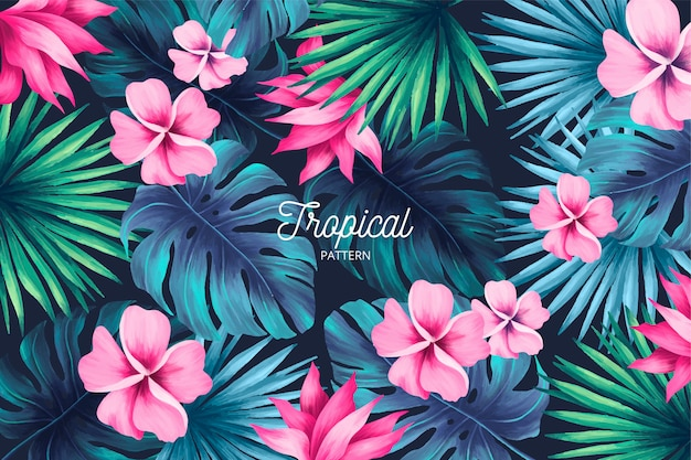Tropical print with summer leaves