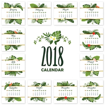 Tropical printable calendar for 2018 year with exotic leaves and flowers