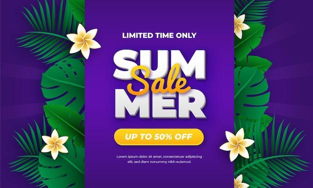 Тропический фиолетовый конец летней распродажи дизайн баннера