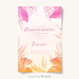Tropical quinceanera card template