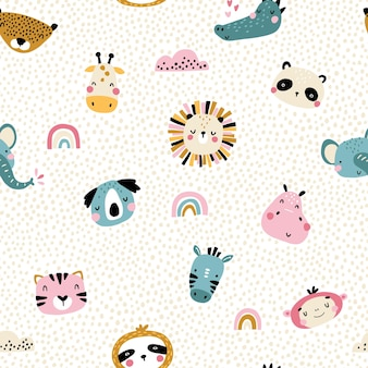 Tropical rainbow seamless pattern with cute animals faces.