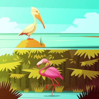 Tropical rainforest fauna 2 retro cartoon banners set with pink flamingo and pelican bird