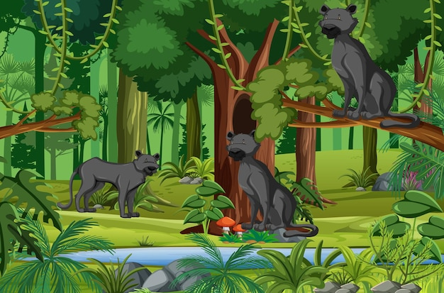 Tropical rainforest scene with black panther family
