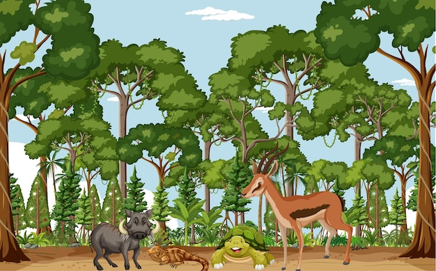 다양한 야생 동물이 있는 열대 우림 장면