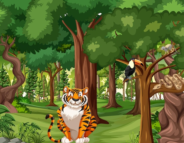 다양한 야생 동물이 있는 열대 우림 장면 무료 벡터