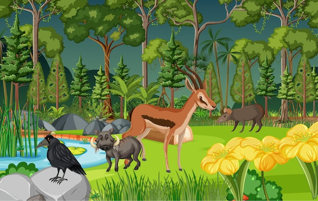 Tropical rainforest scene with various wild animals