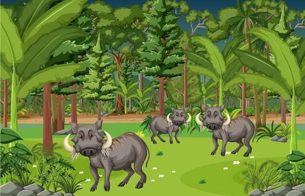 Сцена тропического леса с семьей бородавочника