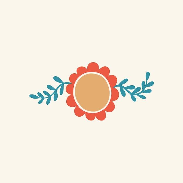 Tropical red flower symbol social media post floral vector illustration