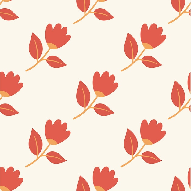 Tropical red flowers pattern background social media post floral vector illustration
