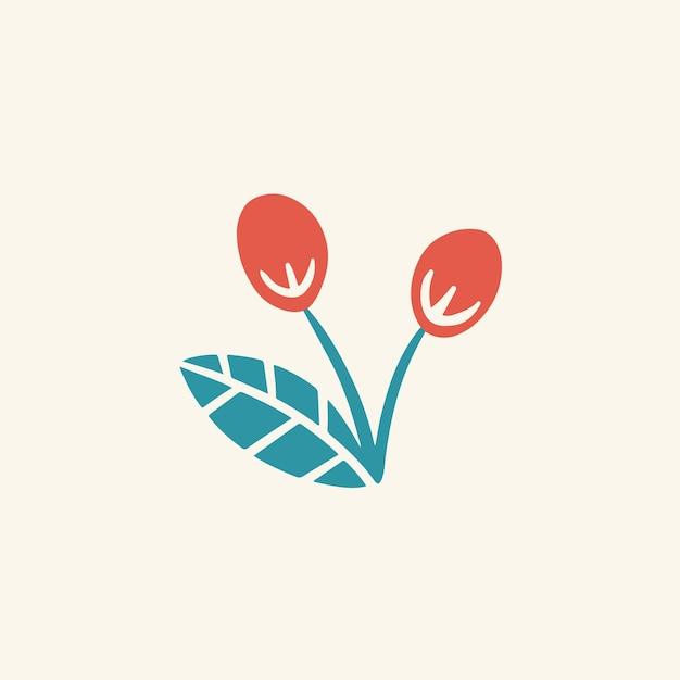 熱帯の赤い花のシンボルソーシャルメディア投稿花のベクトル図