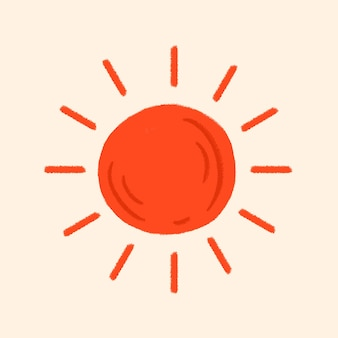 Tropical red sun sticker  in summer vacation theme