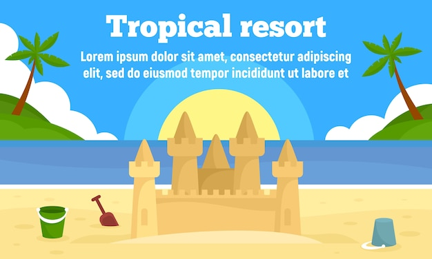 Tropical resort banner, flat style