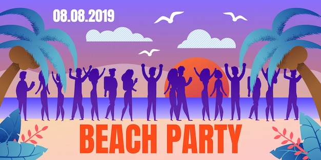 Tropical resort beach party flat vector poster