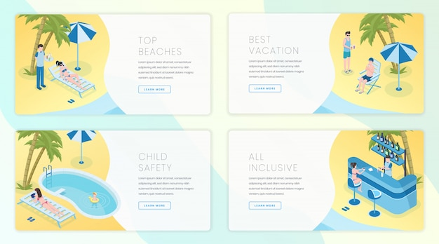 Tropical resort landing pages template set. travel industry, summer tourism business website homepage interface idea with isometric illustrations.