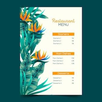 열대 레스토랑 메뉴 템플릿