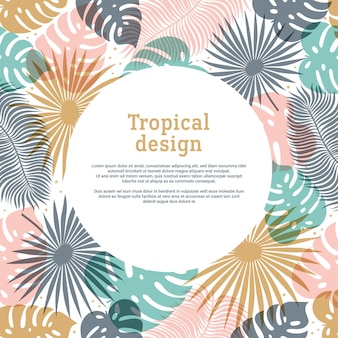 Tropical round shape frame in pastel colors with copy space