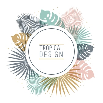 Tropical round shape frame in pastel colors