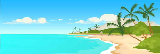 Tropical sandy beach flat color illustration. wild sea shore and palm trees scene