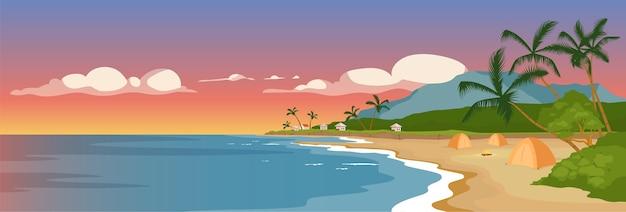 Тропический песчаный пляж плоского цвета. дикий берег моря и пальмы. панорамный вид на морской город. летний кемпинг. палатки на берегу океана 2d мультяшный пейзаж с закатным небом на фоне