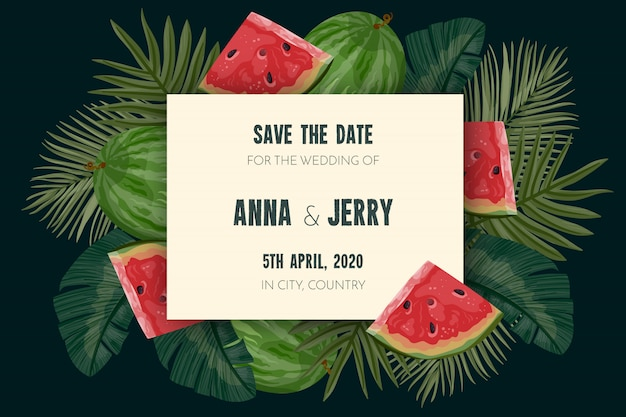 Tropical save the date card