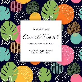 Tropical save the date with dark background