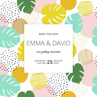 Tropical save the date with light background
