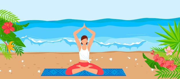 Tropical sea beach for yoga relax vector illustration flat young girl character sitting in meditation healthy pose at sand summer vacation Premium Vector