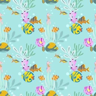 열 대 바다 물고기 원활한 패턴입니다.