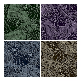 Tropical seamless natural pattern of exotic leaves