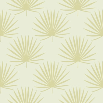 Tropical seamless pastel pattern with yellow fan palm leafs.