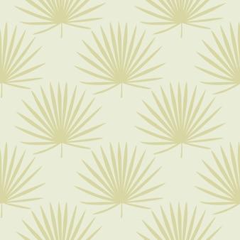Тропический бесшовный пастельный образец с желтыми веерными пальмовыми листьями.