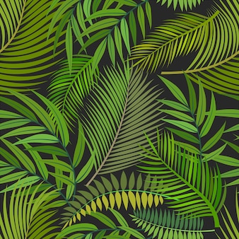 Tropical seamless pattern background with green leaves