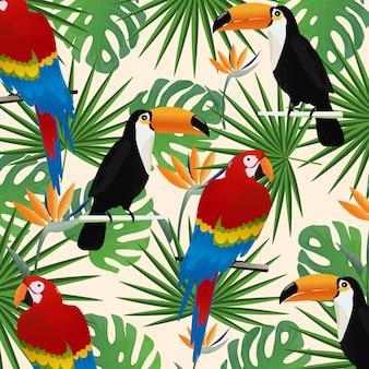 Тропический бесшовный фон с попугаями и туканами