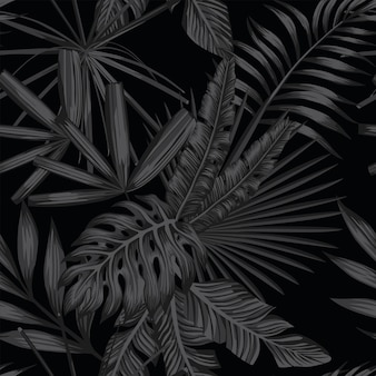 Tropical seamless pattern in black and gray style