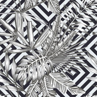 Tropical seamless pattern in black and white style geometric